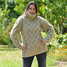 New BEIGE Hand Knitted Wool Sweater Cable non Mohair Turtleneck by EXTRAVAGANTZA