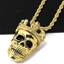 """Mens Gold Iced Cz King Head Skull Pendant 24"""" Rope Chain Hip Hop Necklace D505"""