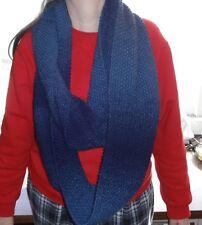 Hand knit Infinity Scarf Varigated Dark Blue
