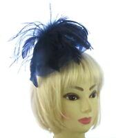 Dark Navy Aliceband Feather Fascinator Ladies Day Ascot Races Wedding Headband