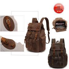 Mens Vintage Canvas Travel Rucksack Military Backpack Satchel Laptop Bag Case AU