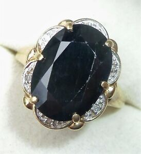 Large 9ct Gold 5.50ct Sapphire & Diamond Ring, Size P, Diana Style