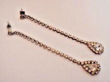 Clear Rhinestones Chain Pear Stone Dangle Super Long Drop Earrings Pierced Posts