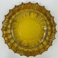 "Sunburst Vintage Retro Ashtray Large Heavy Amber Glass 7"" Mid Century Modern MCM"