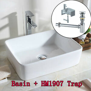 Ceramic Basin Sink Countertop Bathroom Cloakroom Rectangle Bowl With Waste Trap