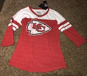 Ladies Women's Fanatics NFL Kansas City Chiefs 3/4 Sleeve Shirt Size Small NWT