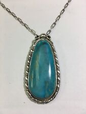 """Native American 925 Sterling Silver Turquoise Pendant W/ Chain 20.5"""""""