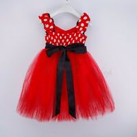 Baby Girl Kid Minnie Mouse Costume Fancy Outfit Ballet Tutu Dress Up + Ear 1-10Y