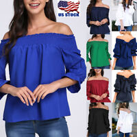 Women's Strapless Off Shoulder Tops Baggy Blouses Shirts Ladies Tee Plus Size US