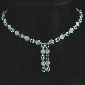 Necklace Blue Topaz Genuine Natural Gems Solid Sterling Silver 17 to 19 Inch
