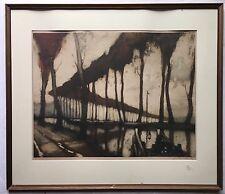 Antique Orig 1887 SURREAL EXPRESSIONISM Landscape ENGRAVING Print PARIS Signed
