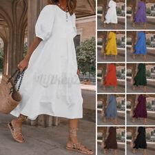 US Women Short Sleeve Holiday Evening Dresses Kaftan Baggy Long Tops Shirt Dress