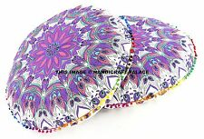 2 PC Indian Peacock Mandala Meditation Round Floor Cushion Cover Tapestry Pillow