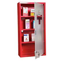 HOMCOM First Aid Box Wall Mounted Medicine Cabinet Glass Door Lockable w/ Key