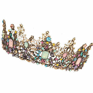 Vintage Colorful Rhinestone Inlaid Bride Wedding Crown Tiara Queen Headwear