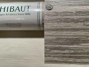 1 Dbl Roll THIBAUT Canyon White Silver Grasscloth Artisanal Wallpaper $564Retail