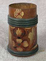 Tole Painted WOOD CUP - HKM - FOLK ART Made In Sweden