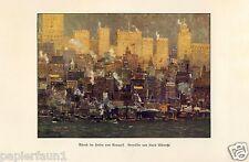 Abend im Hafen von New York Kunstdruck von 1926 Kurd Albrecht Manhattan Amerika