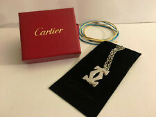 Cartier Authentic Silver 2c Logo Top Charm Plated Necklace NEW!