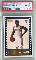 Zion Williamson 2019-20 Panini NBA Sticker & Card Collection Rookie Base Card