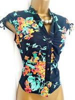 TED BAKER size 1 8 bright floral summer holiday shirt pretty smart casual ditsy