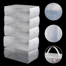 5 x Clear Plastic Mens Shoe Storage Boxes Containers Size 8 9 10 11 SH U4H8 W8F5