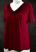 V-Neck Flowing Angel Sleeves Stretchy Top~Maroon~2X~18/20~Plus Size Shirt/Blouse