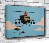 Banksy Pink Ribbon helicopter gunships Canvas Art Print
