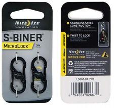 Niteize S Biner MicroLock Extra-sicherer S-Biner Edelstahl inkl. Schloss schwarz