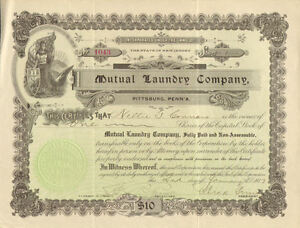 Mutual Laundry Company > Pittsburgh Pennsylvania stock certificate share