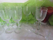 Beautiful Swirl Vine & Leaf Etching Stemware Set of 8 Lot A-35