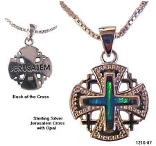 Ornate Jerusalem Cross & Opals Necklace