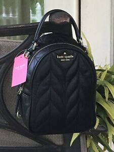 KATE SPADE BRIAR LANE QUILTED MINI CONVERTIBLE BACKPACK BAG BLACK LEATHER $299
