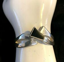 black Onyx bracelet from 1970 Mexico Vintage Art Deco Style sterling silver