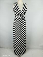 Jasper Conran Black White Striped Long Stretch Maxi Dress Size 10 S