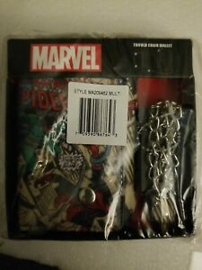 NIP Marvel Comics Amazing Spider-Man Comic Print Wallet w/Chain Faux Leather box
