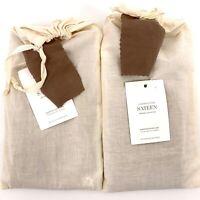 Restoration Hardware Garment Dyed Sateen Sable Brown Euro Pillow Shams Set Of 2