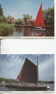 2 Unused Colour Norfolk Broads Postcards