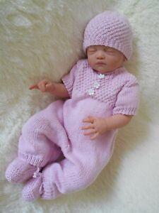 dk baby knitting pattern instructions girls romper hat booties set easy rose