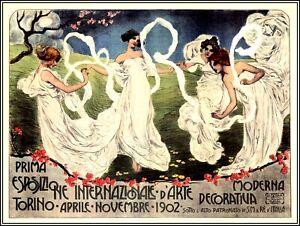 Turin Italy 1902 International Art Exhibition Vintage Poster Print Retro Art