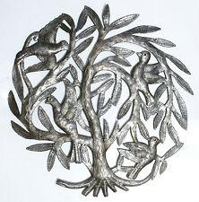 Laissant l'arbre nid de jardin de la vie avec des oiseaux, l'art de métal haiti