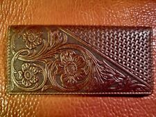 Leather Roper Wallet for check book ,credit cards and currency, embossed western