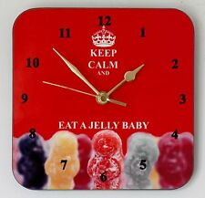 Square Wall Clock – Keep Calm and Eat a Jelly Baby - Size 19cm by 19cm
