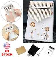 17 Key Wood Kalimba Thumb Finger Piano Mbira White Music Instrument Kids Gift