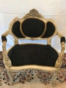Antique Louis XVI French Carved Upholstered Arm Chair