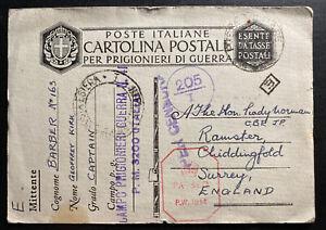 1942 Italy British Prisoner Of War POW Postcard Cover To Surrey England
