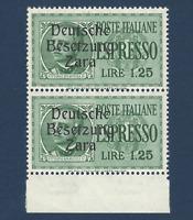 1943 ZARA BESETZUNG ITALY GERMANY OCC 1.25 LIRE STAMPS MNH OG PAIR MICHEL #21