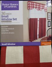 Better Home & Garden 3 Piece Rod Pocket Valance & Tiers set checks 'N solids/red