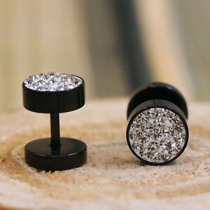 Rhinestone Circle Black Stainless Steel Plug Screw Back Mens Womens Stud Earring