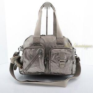 NWT Kipling HB6123 Defea Large Satchel Shoulder Handbag Nylon Metallic Pewter Cr